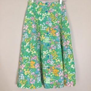 Vintage 70's Green Floral Button Down Midi Skirt